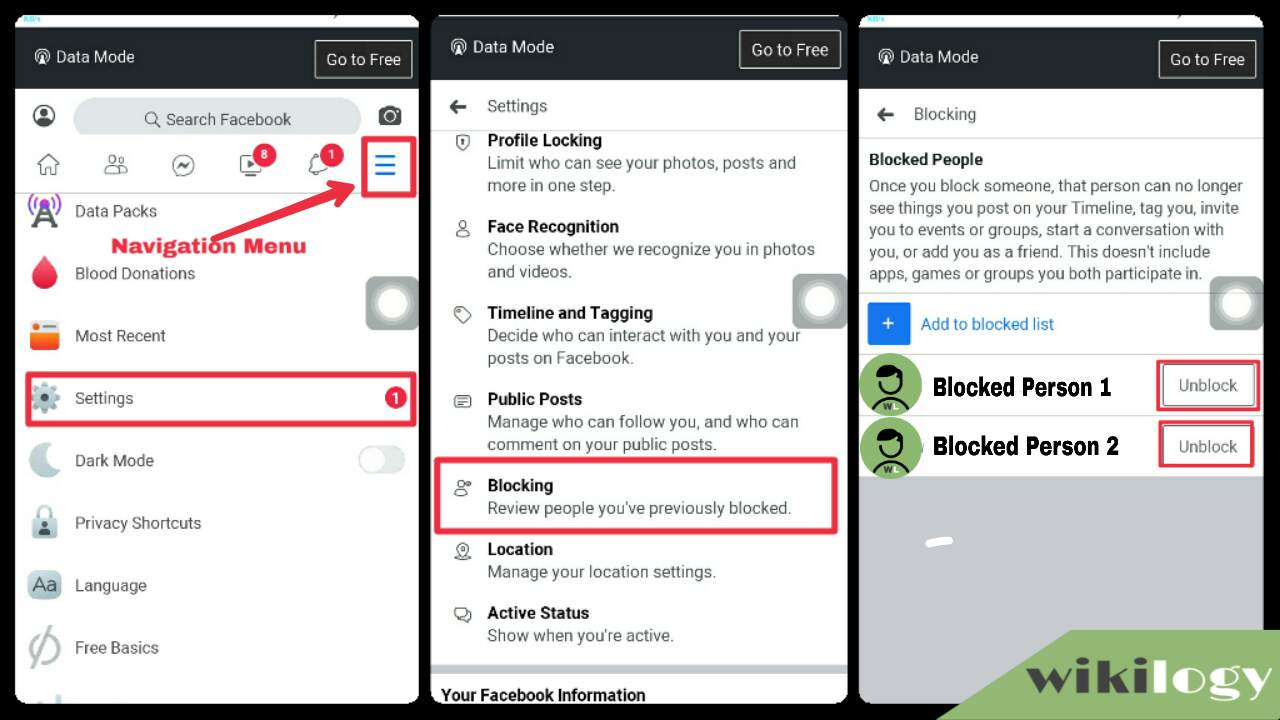 Unblock someone on Facebook on android or iPhone
