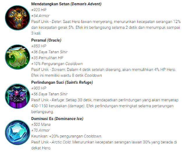 Item Pertahanan (Defense) Mobile Legends: Bang bang