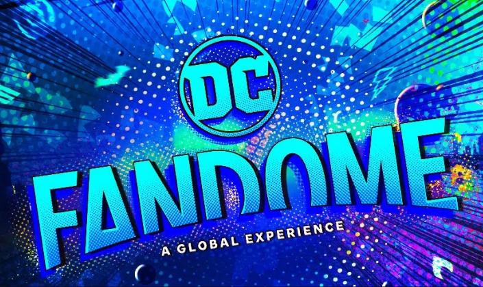 Imagem de capa: fundo azul colorido com padrão de pontos de quadrinhos e traços e no centro temos o logo da DC, um círculo azul-claro com DC no centro e abaixo Fandome - a global experience, em azul-claro.