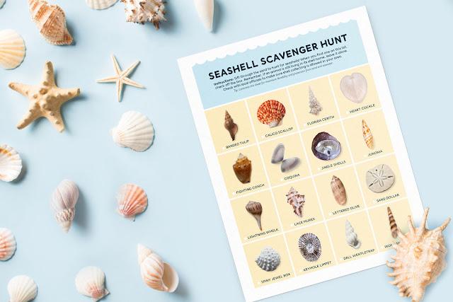 Printable Seashell Scavenger Hunt - Summer activity for kids