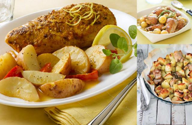 İtalyan usulü biberiyeli patates ve tavuk