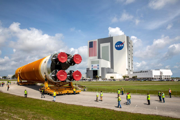 The SLS core stage booster for Artemis 1 is transported to the Vehicle Assembly Building at NASA's Kennedy Space Center in Florida...on April 29, 2021.