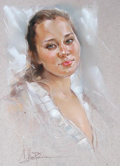 Портрет девушки в технике пастель