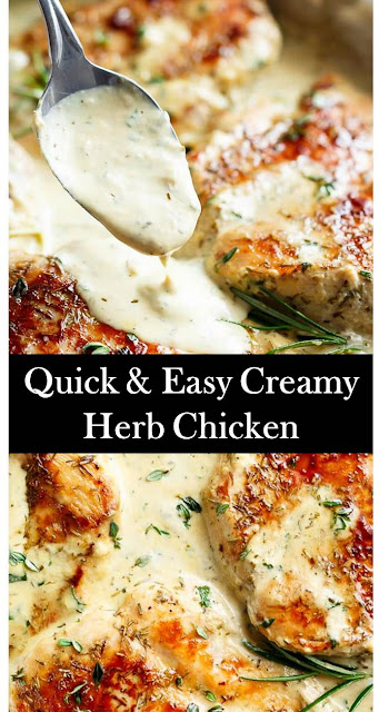 Quick & Easy Creamy Herb Chicken #Quick #Easy #Creamy #Herb #Chicken