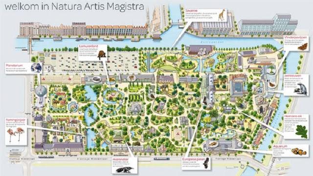 Mapa do Natura Artis Magistrea Zoo em Amsterdã