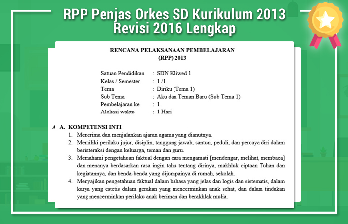 RPP Penjas Orkes SD Kurikulum 2013 Revisi 2016 Lengkap