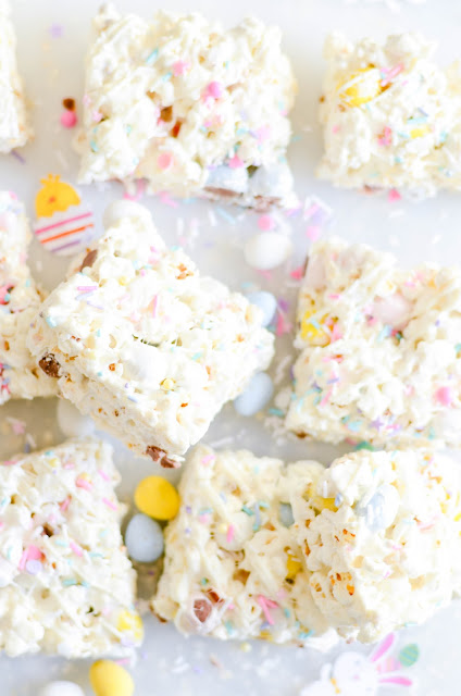 Easter popcorn with mini Cadbury Easter Eggs and marshmallows