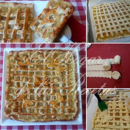 Tarta de Compota de Manzana hecha en hojaldre, decorada con tiras de hojaldre, flores  y mariposas
