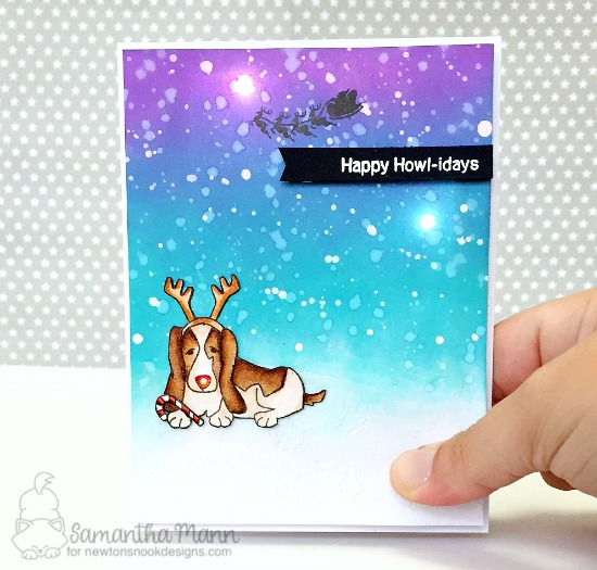 Happy Howl-idays light up card by Samantha Mann | Canine Christmas Stamp set by Newton's Nook Designs with chibitronics lights | #newtonsnook #chibitronics
