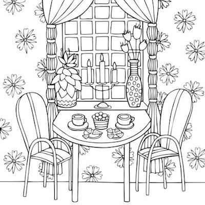 Tranh tô màu bàn ghế trong phòng đẹp