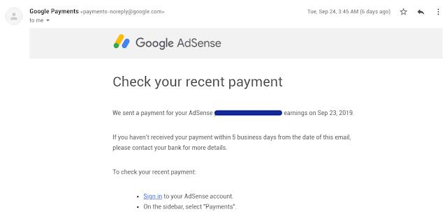Cashout Kali Pertama Daripada Google Adsense