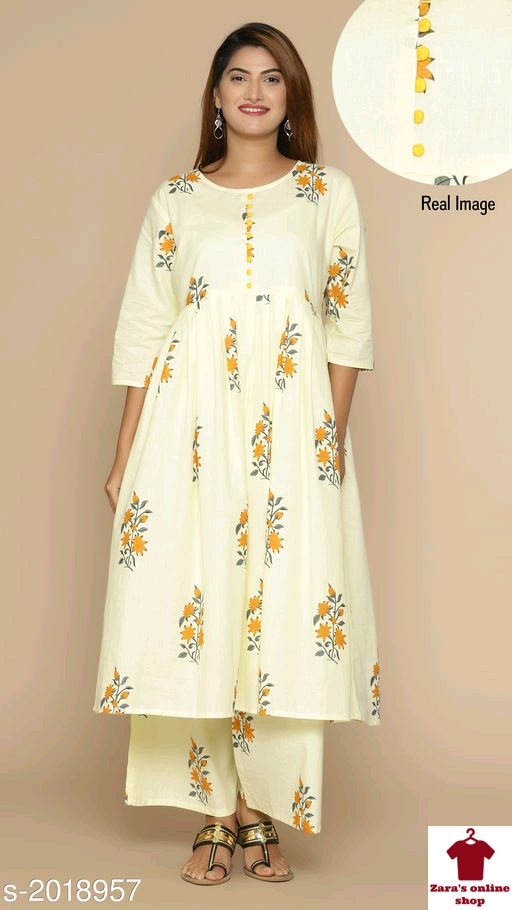 _Bring out the best in you by gracing these Fabulous Cotton Women's Kurta Sets . Stay Graceful!_  Catalog Name: *Tanya Fabulous Cotton Women's Kurta Sets *  Fabric: Kurta - Cotton, Palazzo - Cotton  Sleeves: Sleeves Are Included  Size: Kurta -M - 38 in, L - 40 in , XL - 42 in , XXL - 44 in ,Palazzo - M - 30 in, L - 32 in , XL - 34 in , XXL - 36 in   Length:Kurta - Up To 42 in, Palazzo - Up To 39 in  Type: Stitched  Description: It Has 1 Piece Of KurtaWith1 Piece Of Palazzo   Work: Kurta - Printed , Palazzo - Printed  Dispatch: 2 - 3 Days  Designs: 4  Easy Returns Available In Case Of Any Issue