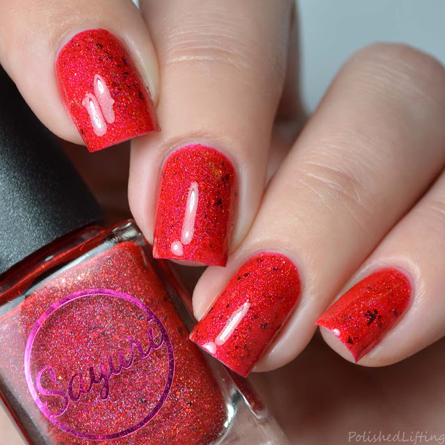 red holo nail polish with flakies