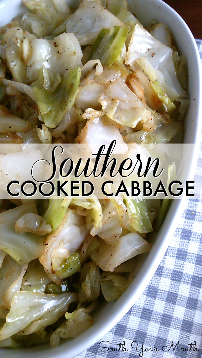 Cabbage cooked the Southern way by sauteing in bacon grease then slowly cooking until tender. #southern #recipe #cabbage