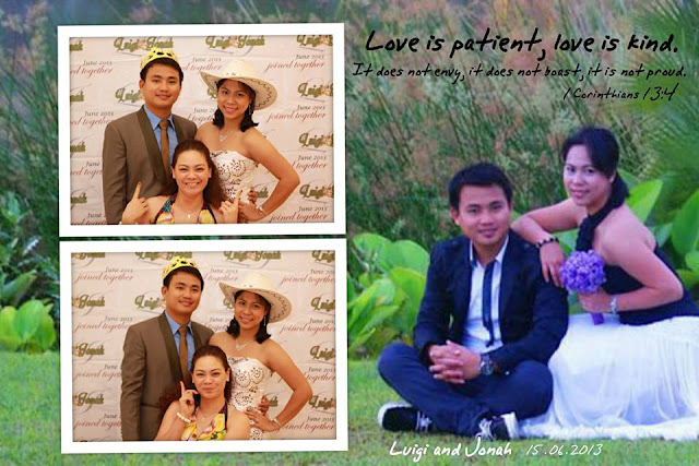 pose for wedding booth