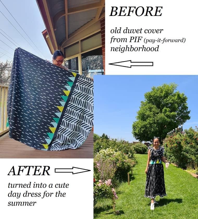 DIY duvet cover into a dress