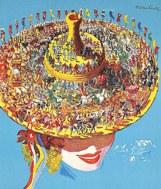 a Victor Rutz 1955 travel poster illustration of a festive crowd on a woman's hat