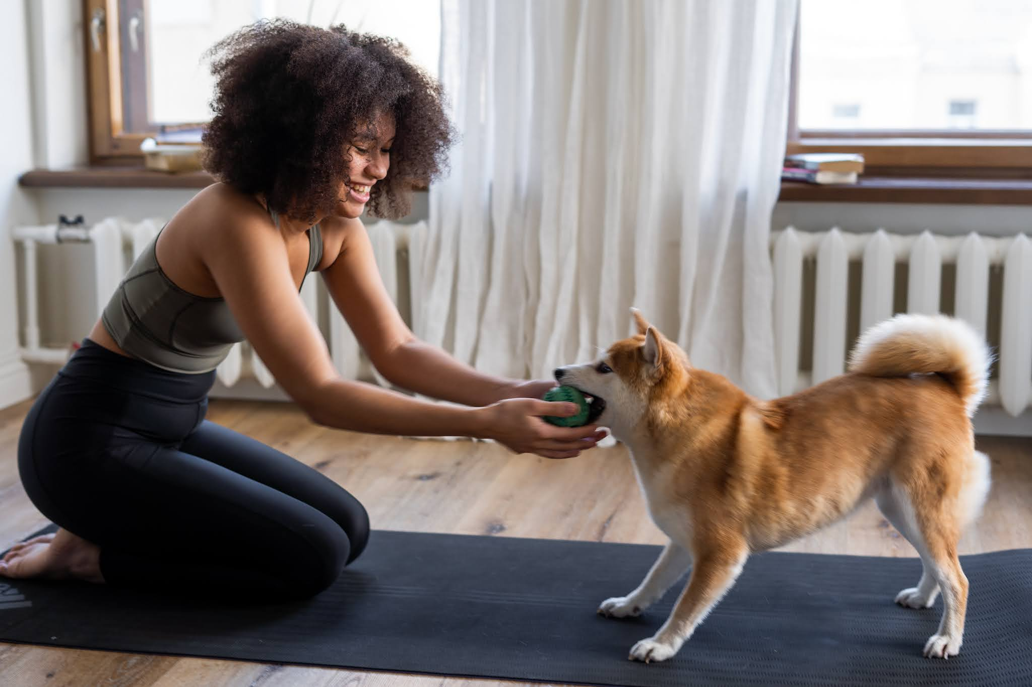 woman doing yoga and being interrupted by her cute dog wanting to play