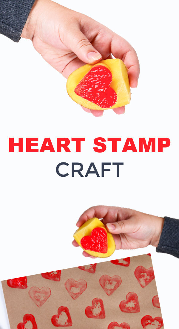 Make heart stamps for kids using cookie cutters and potatoes! #valentinecraft #valentinesday #valentinesdaycraftsforkids #potatostampart #heartcraftsforkids #growingajeweledrose #activitiesforkids