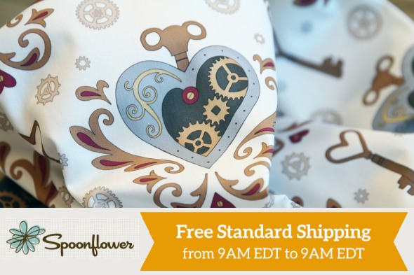 Spoonflower Free Shipping Day 17 March 2016 - Steampunk Valentine design by hazelfishercreations