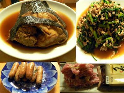 夕食の献立 献立レシピ 飽きない献立 煮魚カレイ 大根葉と挽肉炒め ネギトロ 餃子ウインナー