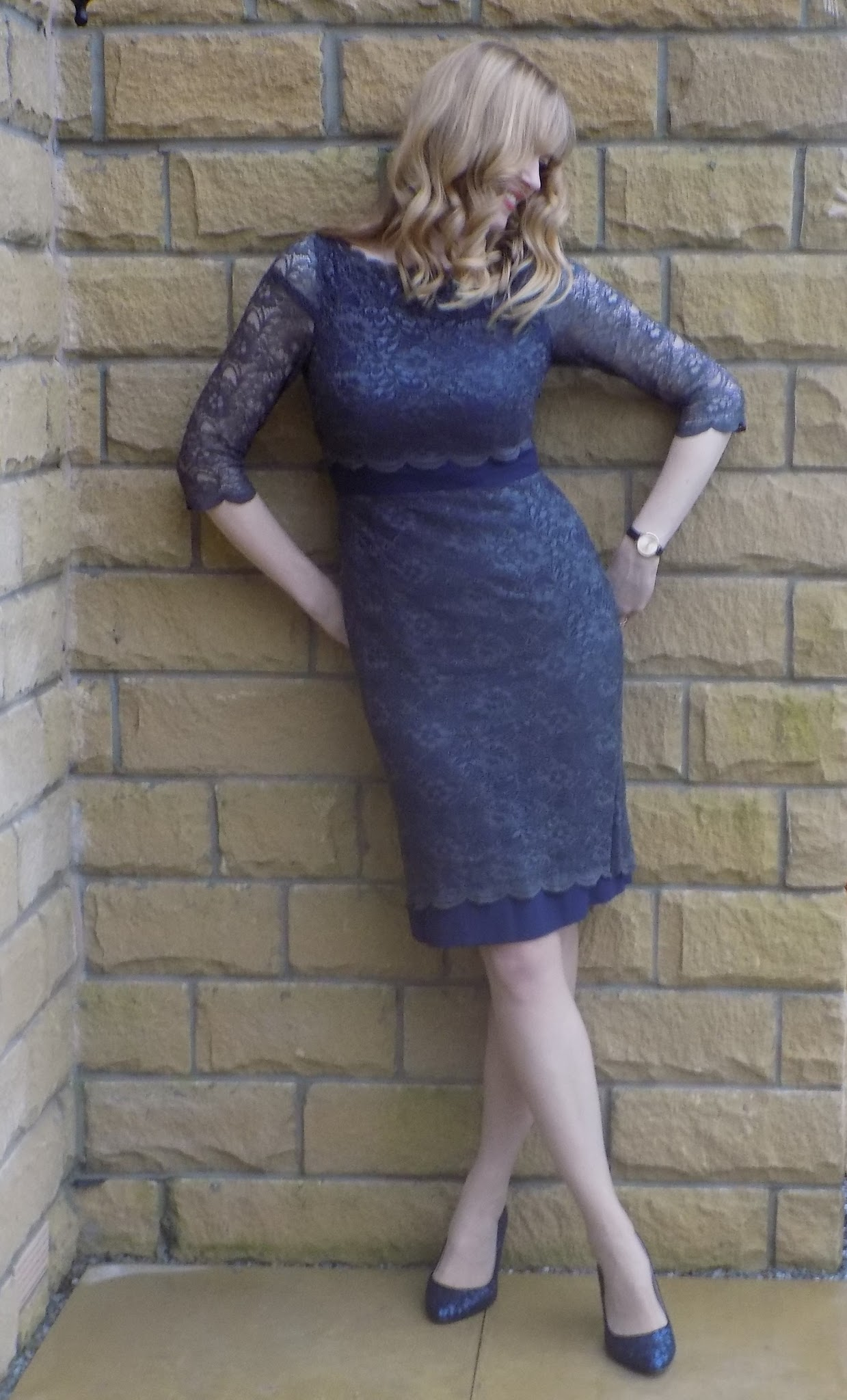 Boden navy and grey lace shift dress