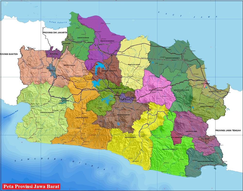 Peta Provinsi Jawa Barat HD Lengkap