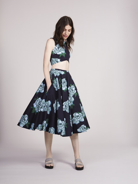 Red Herring Navy Floral Crop top and Skirt - chic co ords - high street Debenhams fashion