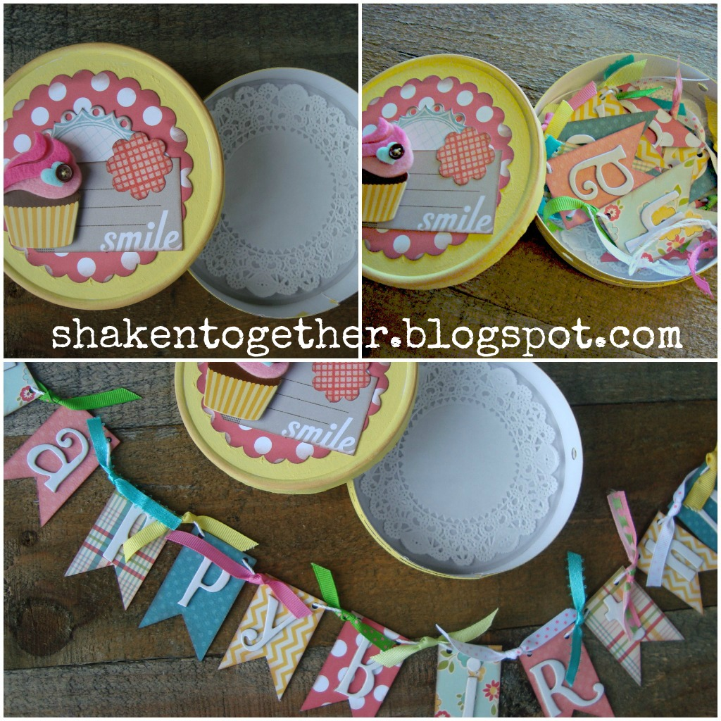 Birthday Banner In A Box Using A Laughing Cow Cheese Box Shaken