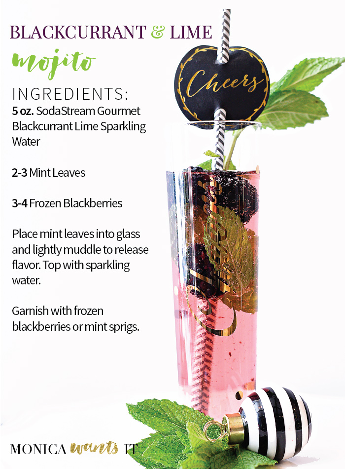 Blackcurrant lime mojito mocktail recipe using a SodaStream Power machine. (via monicawantsit.com)