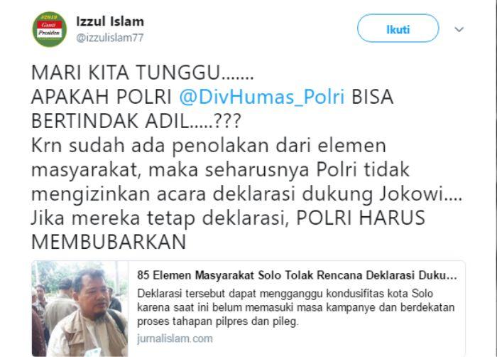 Deklarasi Garda Jokowi Ditolak Warga Solo, Beranikah Polisi Tepati Janji untuk Bubarkan?