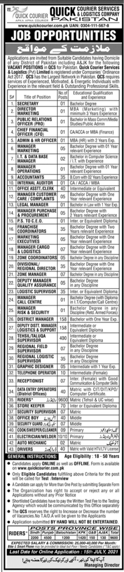 10800+Posts In Quick Courier Service Company Pakistan |  All District Of Pakistan Jobs 2021