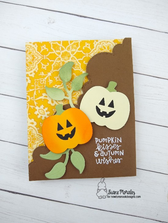 Pumpkin kisses by Diane features Flower Trio, Fall Fringe, Pick-a-Pumpkin, and Sky Borders by Newton's Nook Designs; #newtonsnook