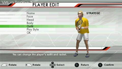 virtua tennis 3 psp game create character