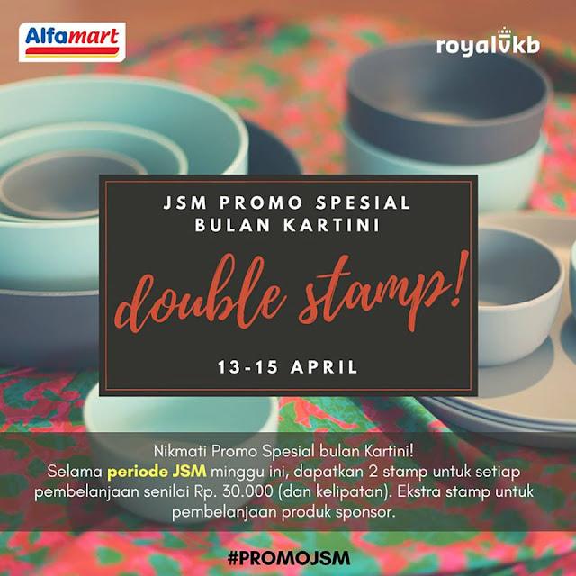 Promo Double Stamp RoyalVKB Alfamart! Dapatkan 2 stamp untuk setiap pembelanjaan senilai Rp 30.000. Periode 13-15 April 2018
