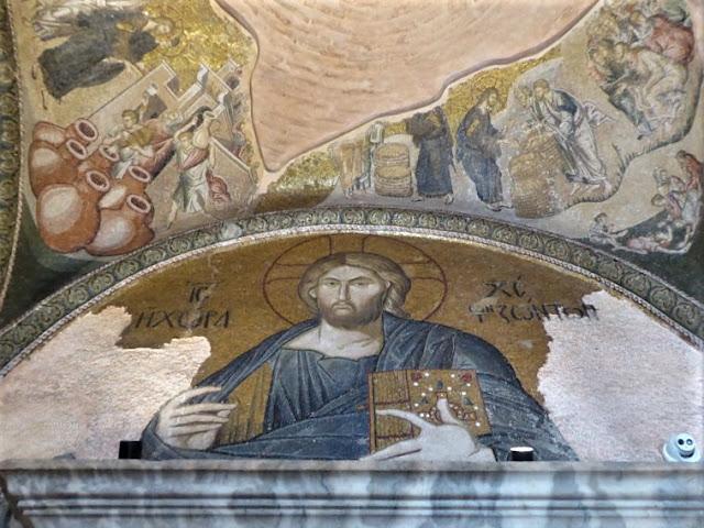 """mosaico Gesù e iscrizione """"dimora del vivente"""""""