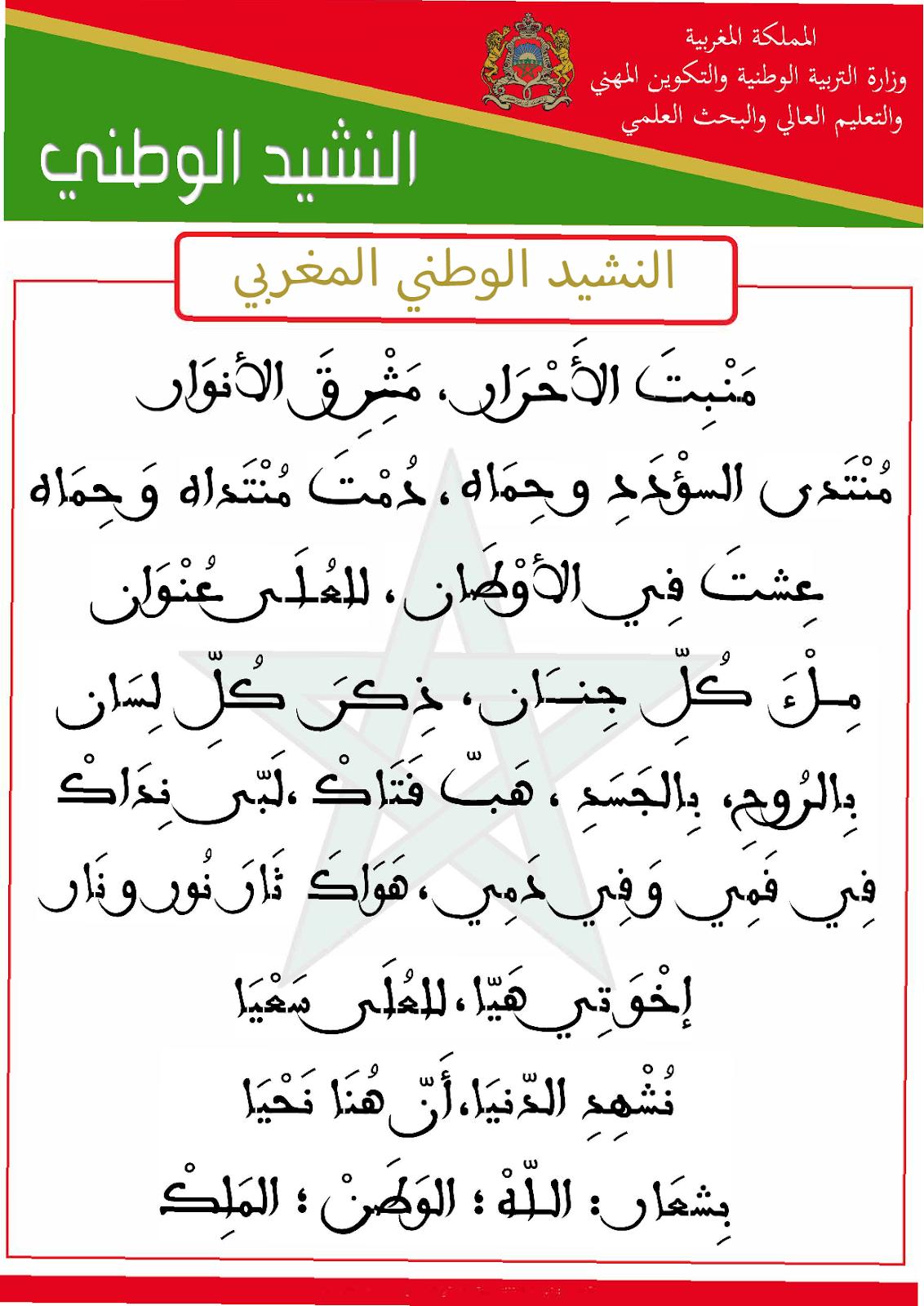 بطاقة النشيد الوطني المغربي تجدونها حصريا على موقع وثائق البروفيسور