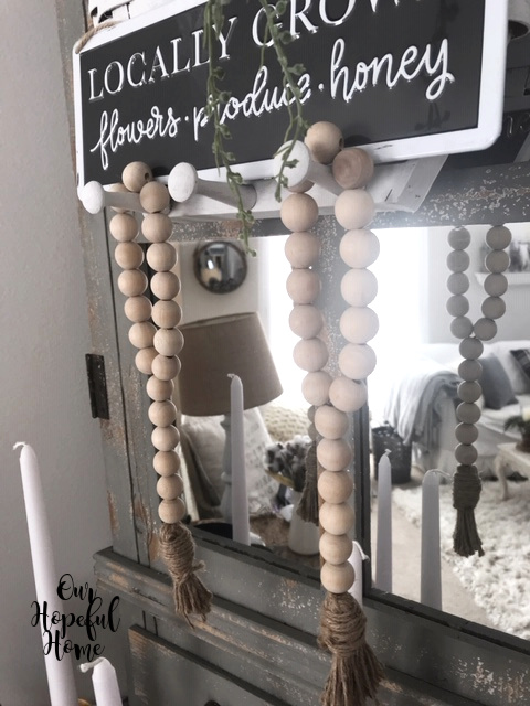wooden farmhouse bead garland tassel