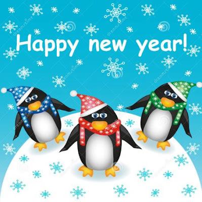 Gambar DP Selamat Tahun Baru Kartun Lucu Pinguin Salju