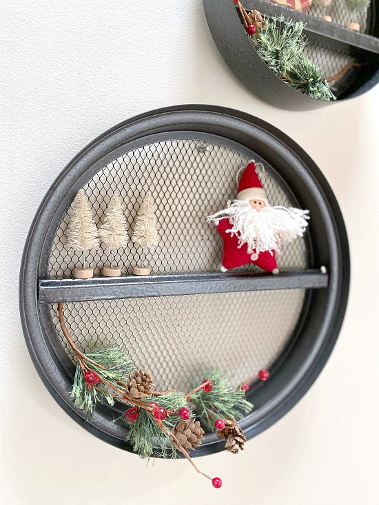Fixer Upper Round Wall Shelves Decorated for Christmas