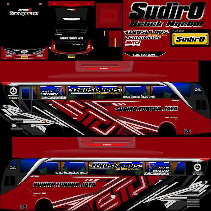 Sudiro Tungga Jaya Transporter Merah : Skin Livery Bus Simulator Indonesia