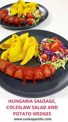 Hungarian Sausage, potato wedges and salad