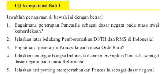 Jawaban Buku Pkn Kelas 9 Uji Kompetensi Bab 1 Hal 29 30 Bagaimana Penerapan Pancasila Nesajamath