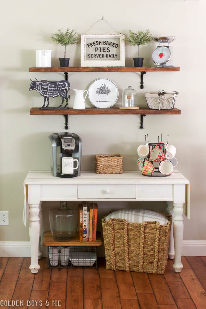 DIY Wood dining shelves with sources