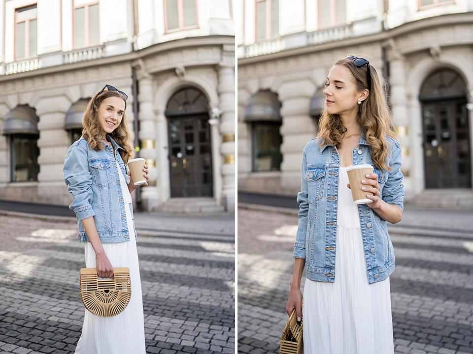 White maxi dress and denim jacket outfit, summer fashion 2020 - Valkoinen maksimekko ja farkkutakki, kesämuoti 2020