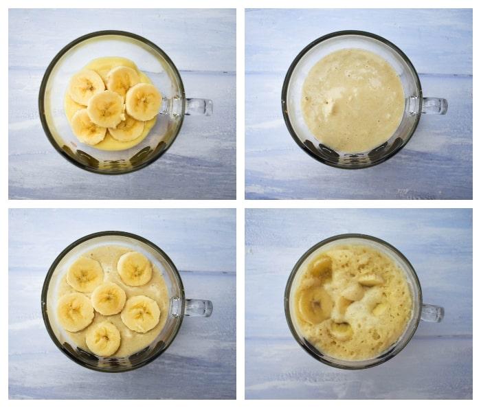 Microwave Banana Custard - Step 3 (pudding layered up)