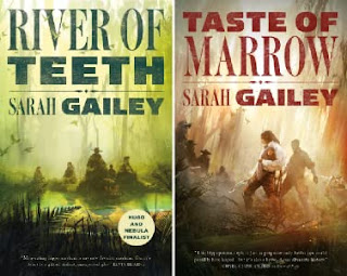 """The covers for two books side by side. On the left: Five figures ride hippos in a swamp, large green lettering reads """"RIVER OF TEETH"""" and """"Sarah Gailey"""". On the right: One figure has a fighting stance in a swamp while surrounded by menacing figures, large red lettering reads """"TASTE OF MARROW"""" and """"Sarah Gailey""""."""