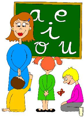 Dibujo de una profesora con sus alumnos a colores