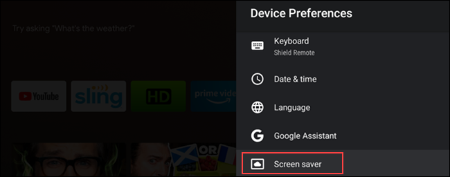 Selezione screensaver Android TV