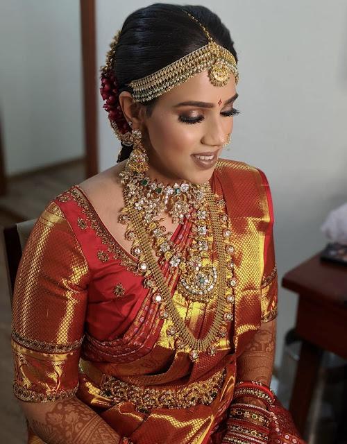 Bride in Flat Diamond Long Chain Jhumkas